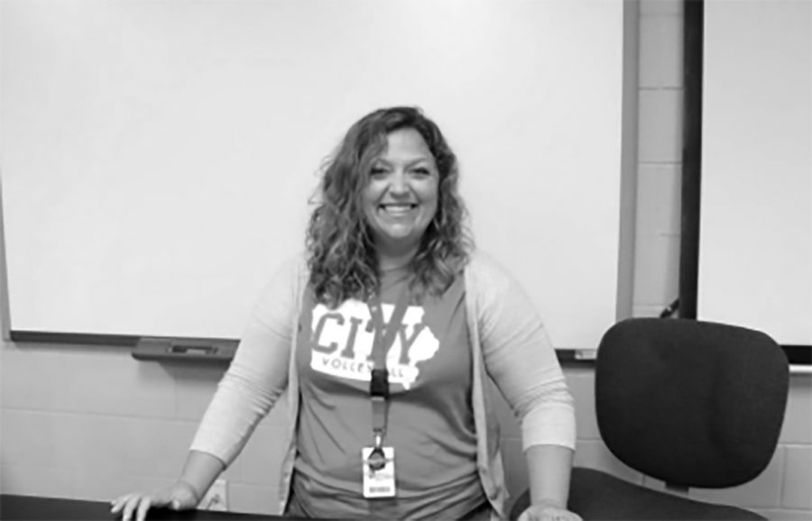Ms Smith posing for her teacher appreciation column.