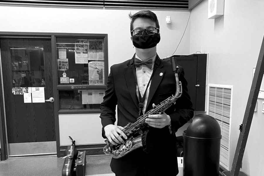 Ottmar dressing for the part as the Jazz Band instructor.