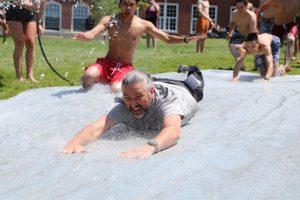 Assistant Principal Jesperson took a turn on the slip 'n slide.