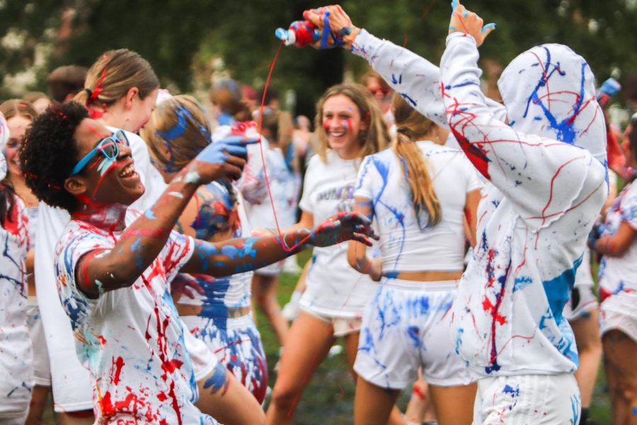 Seniors were told to bring their own paint in red, white and blue.
