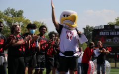 Louie the Little hawk hypes up the crowd.