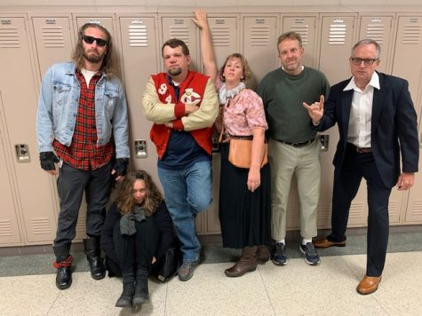 Travis Carlson, Carrie Watson, Nathan Hellwig, Havilah Peters, Jason Schumann, and Steve Dodge dress up as The Breakfast Club for movie charater day. Photo courtesy of Havilah Peters.