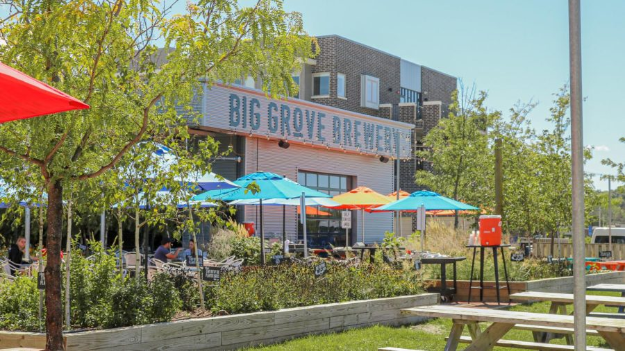 Customers eat in Big Groves Brewery patio area.