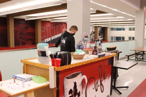 Students manage the Little Hawk coffee cart periods 1-3.